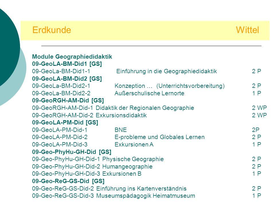 Erdkunde Wittel Module Geographiedidaktik 09-GeoLA-BM-Did1 [GS]